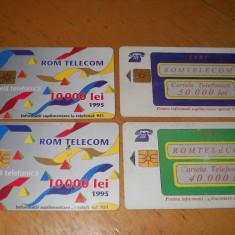 CARTELA DE TELEFON 1995 - 1997 ROMANIA - DE COLECTIE - GRAFICA MORENO LOT 4 BUC - Cartela telefonica romaneasca