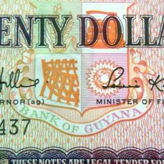 Bancnota 20 Dolari - GUYANA *UNC - bancnota america, An: 1989