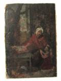 Veche pictura ulei pe carton