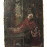 Veche pictura ulei pe carton - Tablou autor neidentificat, Scene gen, Realism