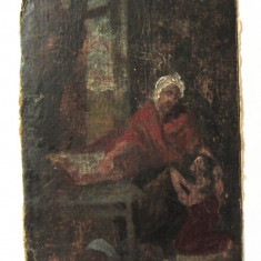 Veche pictura ulei pe carton, Scene gen, Realism