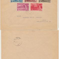 RFL Romania 1947 serie 5 timbre 1 MAI stampilata pe plic suvenir