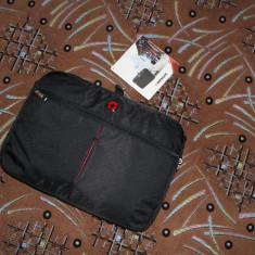 Geanta Laptop Slim Swiss WENGER Originala Calitate-Premium NOU, Diplomat, 15 inch, Panza, Negru