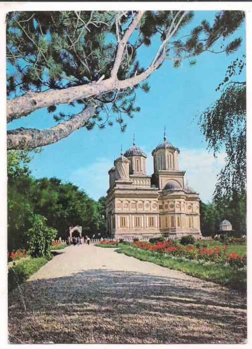 % carte postala (marca fixa)-ARGES -Manastirea Curtea de Arges-par avion