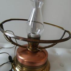 Superba lampa/veioza, veche, alama si cupru, masiva, fara abajur, de colectie.