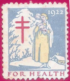 1922 USA pt. sanatate vinieta de Craciun mama si copilul poster stamp, SUA, Medical, Nestampilat