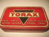 5531-TORAX pastile plamani-Cutie farmacie metal veche interbelica.
