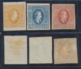RFL 1865 ROMANIA Alexandru Ioan Cuza serie 3 timbre nestampilate 2, 5, 20 parale, Nestampilat