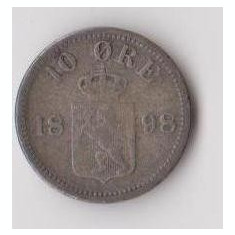 Moneda 10 ore 1898 - Norvegia, 1, 5 g argint 0, 4000, cotatii ridicate!, Europa