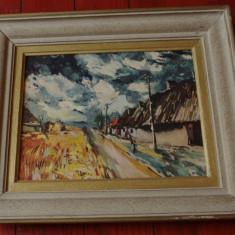 Tablou cu rama din lemn - reproducere dupa M. Vlaminck - Le champ orange !!!, Peisaje, Ulei, Impresionism