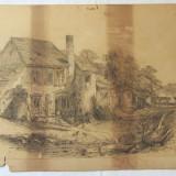 Desen vechi 1888 - Pictor strain, Peisaje, Carbune, Realism
