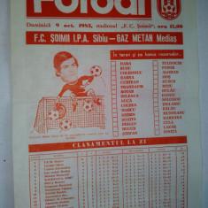 Program F.C. Soimii I.P.A. Sibiu - Gaz Metan Medias ~ 9 octombrie '83 - Program meci