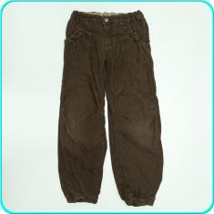 DE FIRMA _ Pantaloni catifea, captusiti, talie reglabila, H&M _ 7 - 8 ani | 128, Marime: Alta, Culoare: Maro, Fete