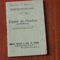 Carnet de membru cooperativa / Centrocoop - anii 50 !!!! - Pasaport/Document