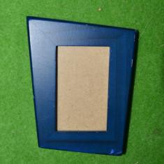 Rama foto lemn pictat albastru, cu sticla, 10x8cm