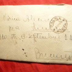 Plic circulat 1938 de la Balti la Bucuresti, are un mic decupaj pe spate