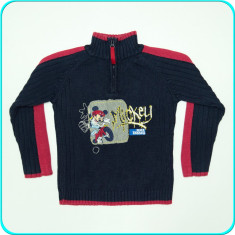 Pulover bumbac, cu Mickey Mouse, fermoar la gat, C&A _ baieti | 5 - 6 ani | 116, Culoare: Bleumarin