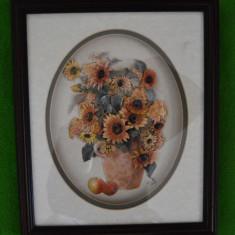 Tablou 3D vaza cu flori, June 1998, UK 27x32cm, cu rama si sticla, carton