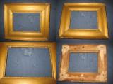 5537-Rama tablou antic mica lemn culoare bronz auriu anii 1900. Ext. 31/26 cm.