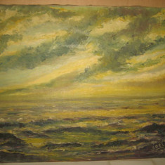 Tablou Marina spaclu COEL 70, ulei / panza, 60_50 cm, stare buna. - Pictor strain, An: 1900, Marine, Realism