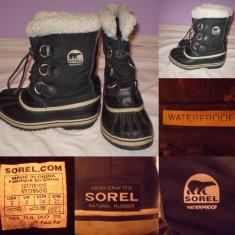 Cizme SOREL Waterproof (34) copii zapada iarna impermeabile ghete panza - Cizme copii, Culoare: Din imagine