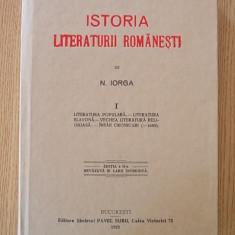 ISTORIA LITERATURII ROMANESTI- NICOLAE IORGA- VOL I