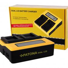 PATONA | Incarcator DUAL LCD pt Sony NP F970 F960 F550 NPF970 NPFM50 NPFM500H - Incarcator Aparat Foto