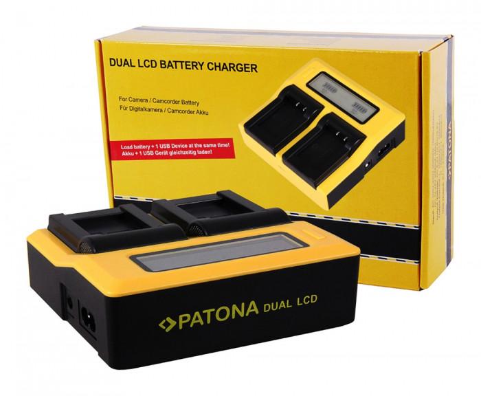 PATONA   Incarcator DUAL LCD pt Sony NP F970 F960 F550 NPF970 NPFM50 NPFM500H