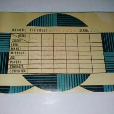Orar didactic perioada comunista, folosit - cartonat - Pliant Meniu Reclama tiparita