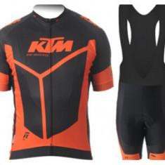 Echipament ciclism KTM red set pantaloni cu bretele tricou jersey bib