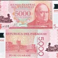 PARAGUAY- 5000 GUARANIES 2011(2013)-P 234- POLYMER- UNC!! - bancnota america