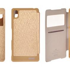 Husa Samsung Galaxy S4 i9500 S-VIEW Gold by Mercury - Husa Telefon Samsung, Auriu, Cu clapeta, Toc