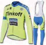 Echipament ciclism TINKOFF saxo complet iarna toamna set NOU bluza pantaloni, Tricouri