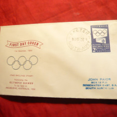 Plic FDC Olimpiada Melbourne 1956 Australia, 1 val.albastru