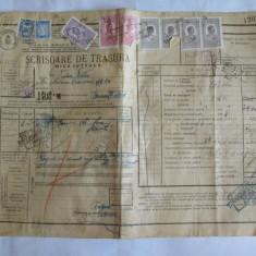 SCRISOARE DE TRASURA MICA IUTEALA CU 9 TIMBRE(FISCALE, AVIATIEI, STATISTIC) 1932