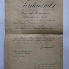RARITATE! BREVET FERDINAND SERV.CREDINCIOS CLS.I PLT. MAJOR JANDARMI 1923