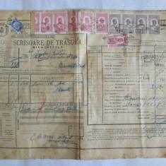 SCRISOARE DE TRASURA MICA IUTEALA CU 12 TIMBRE(FISCALE, AVIATIEI) 1932