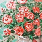 "Tablou pictura ulei "" vaza cu garoafe "" - Pictor roman, An: 2013, Flori, Realism"