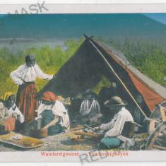 2226 - SIBIU, Ethnic, Gypsy tent - old postcard - unused - 1917 - Carte Postala Transilvania 1904-1918, Necirculata, Printata