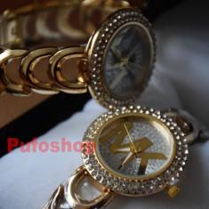 Ceas MK elegant de dama Shine Crystal auriu + cutie CADOU POZE REALE! - Ceas dama, Quartz, Analog, Nou