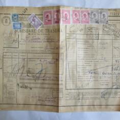 SCRISOARE DE TRASURA MICA IUTEALA CU 10 TIMBRE(FISCALE, STATISTIC, AVIATIE) 1932