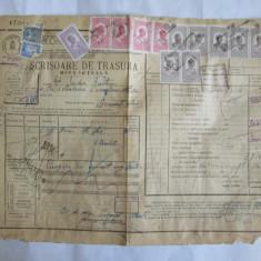 SCRISOARE DE TRASURA MICA IUTEALA CU 14 TIMBRE(FISCALE, STATISTIC, AVIATIE) 1932