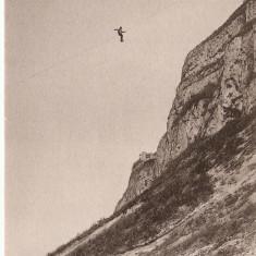 WW1 ALPINISTI COBORARE PE CABLU LA SALEVE, Franta, Circulata, Printata