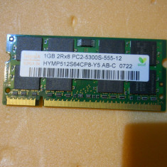 LOT 10 BUCATI Memorie Laptop Hynix Sodimm DDR2 1 GB 666 Mhz PC2-5300 - Memorie RAM laptop Hynix, 667 mhz
