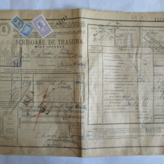 SCRISOARE DE TRASURA MICA IUTEALA CU 3 TIMBRE(FISCAL, STATISTIC, AVIATIE) 1932