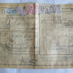 SCRISOARE DE TRASURA MICA IUTEALA CU 9 TIMBRE(FISCALE, STATISTIC, AVIATIE) 1932