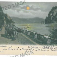 1734 - L i t h o, ORSOVA, Danube, cart - old postcard - used - 1903 - Carte Postala Oltenia pana la 1904, Circulata, Printata