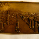 Placheta bronz ,unifata - Pompei ,semnata Rodirieg ,Dim. 14,2 x10,4xo,4 cm