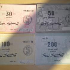 Lot 4 bonuri Casa Scanteii 30, 50, 100 si 200 lei