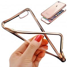 Husa iPhone 6 6S TPU 0.3mm Transparenta Gold - Husa Telefon Apple, Gel TPU, Fara snur, Carcasa